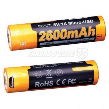 Bateria  Recarregável 18650  2600mah Fenix USB