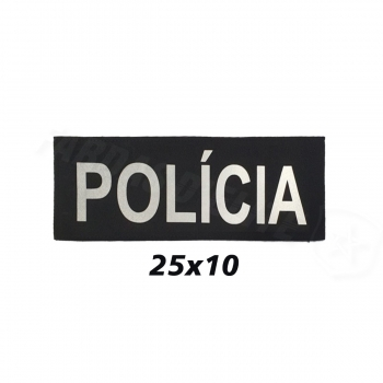 PLACA DE VELCRO POLÍCIA 25CM X 10CM