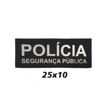 PLACA DE VELCRO POLÍCIA SEGURANÇA PÚBLICA 25CM X 10CM